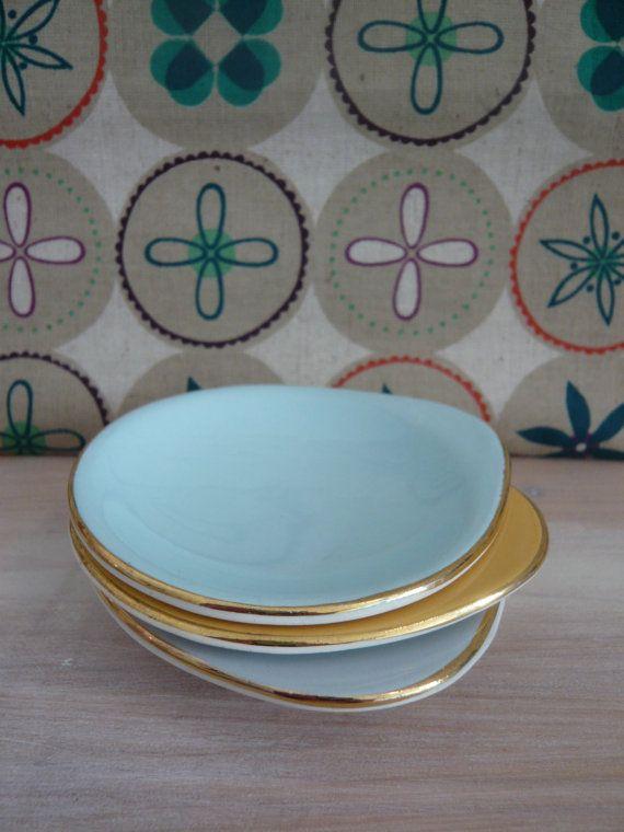 SOLD - 3 x Norsk Egersund Flint Egg Shaped / Teardrop Dishes 1950's Norwegian Scandinavian Retro Vintage Mid Century