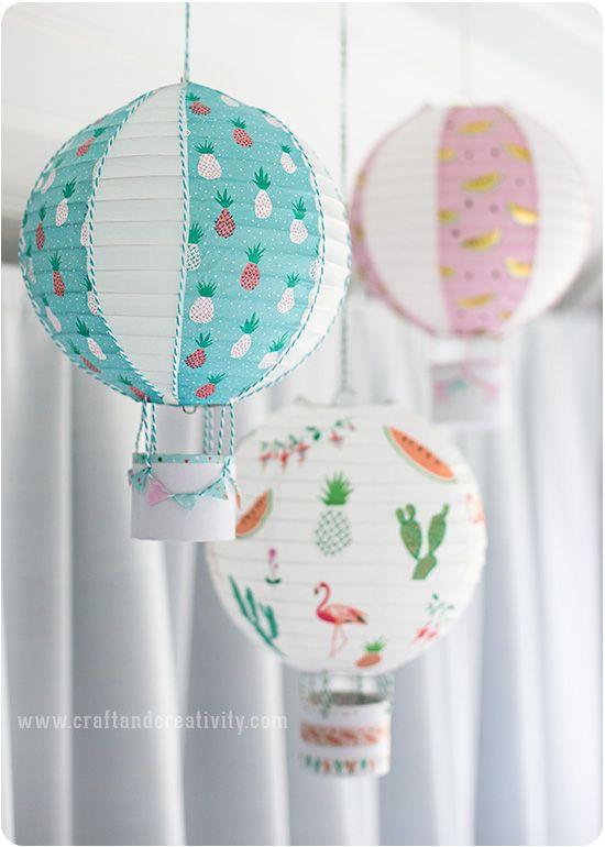 Fler luftballonger av rislampor – More hot air balloon lanterns (Craft…