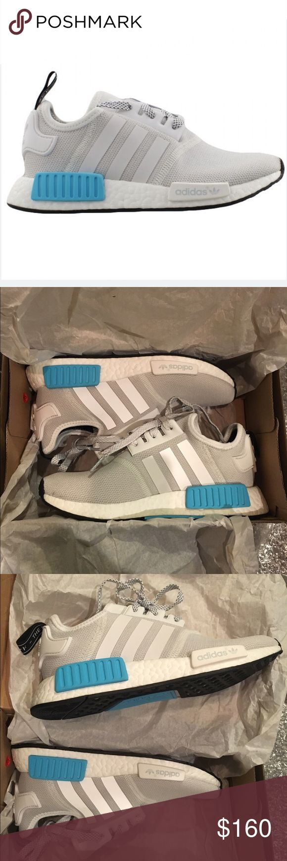 Adidas NMD R1 White/grey. Mismatched white/blue plugs. BNWT. Style: NMD R1 GS (S80207), released 08/18/2016. Neoprene and mesh upper. KIDS SIZE 4 (EU 36, fits women's 6). No trades. Serious offers ONLY. Adidas Shoes Sneakers