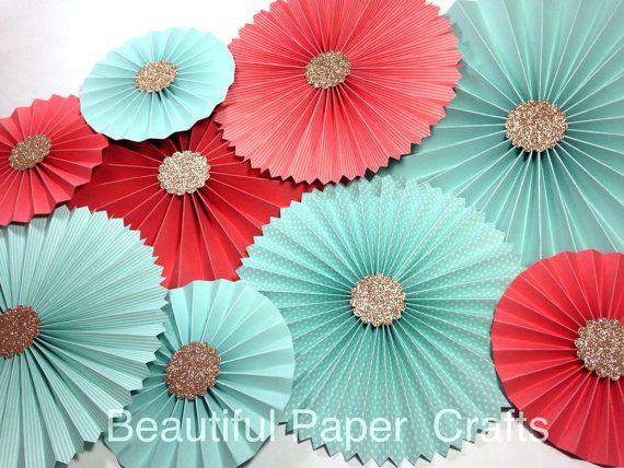 10pc Aqua Coral Gold Rosettes Paper Fans by BeautifulPaperCrafts