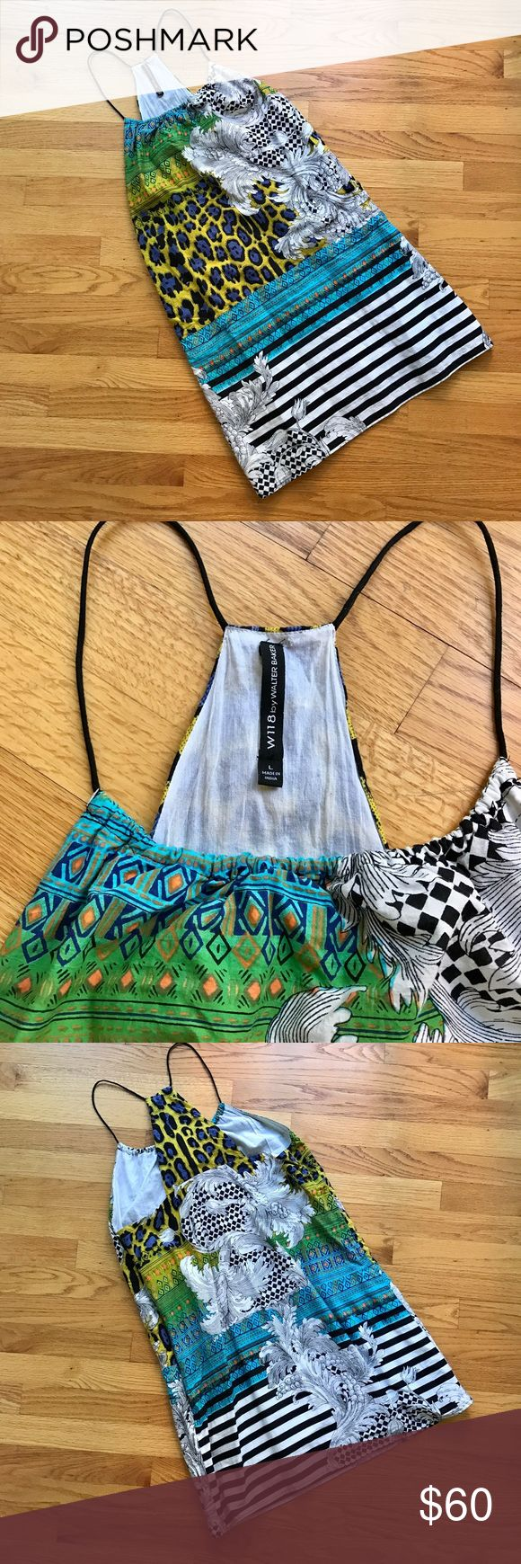 """W118 by Walter Baker Summer Dress 118 by Walter Baker Dress - vivid colors, cool designs, and bright stripes join in this delightful dress. Loose, cool, and comfy.  Hangs lightly from tiny spaghetti straps that form a racerback cut  in the back. Laying it flat, it's 34 1/2"""" long from the top of the shoulder strap to the bottom. longFully lined. In excellent condition. W118 by Walter Baker Dresses"""