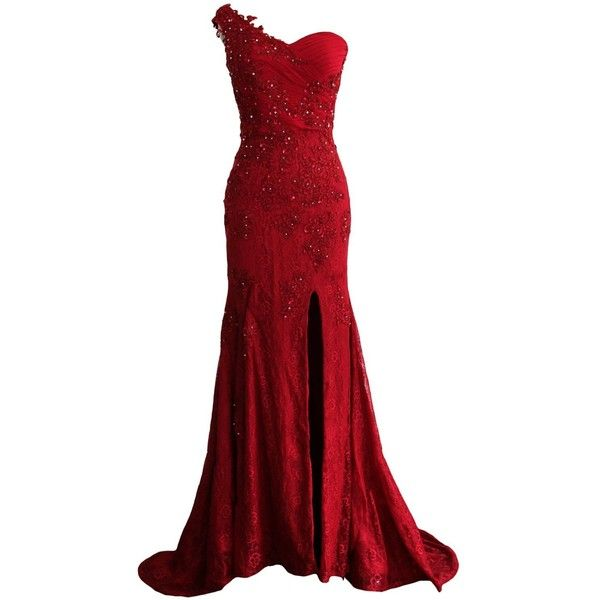 MACloth Women Mermaid One Shoulder Lace Long Formal Evening Dress Ball... ($169) ❤ liked on Polyvore featuring dresses, gowns, long red dress, long evening dresses, red lace evening gown, long formal dresses and red ball gown