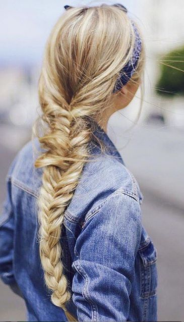 Braids and denim on the beautiful @kassinka! Kassandra is rocking her Bleach Blonde Luxies in our favourite fishtail braid! Photo by: https://instagram.com/kassinka/ #SummerBraids #SummerHairstyles #FishtailBraid #ThreeStrandBraid