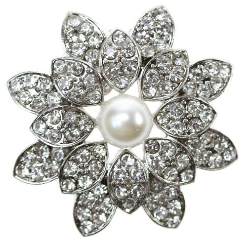 St. Lucia Diamante Brooch Crystals Rhinestones Pearl Petals Floral Wedding Bridal Accessories Invitations Napkin Holders Jewellery