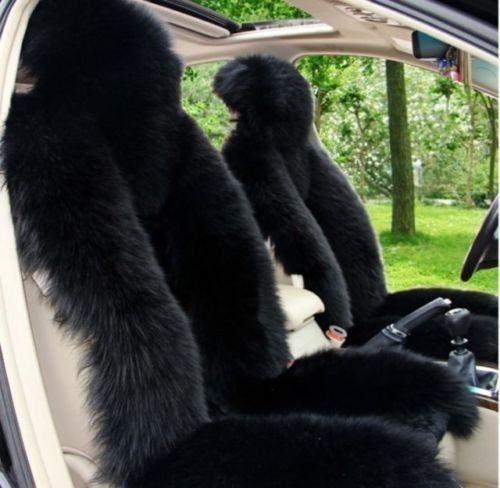 2pcs Genuine long Sheepskin car seat covers gold color pair (Universal Fit)