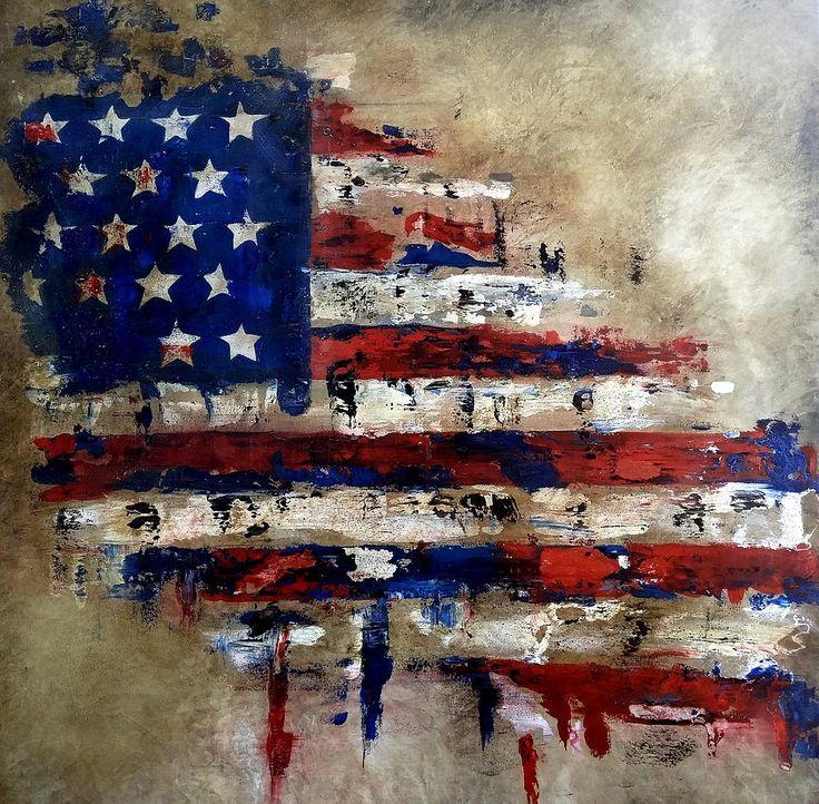 American Flag Painting by Tom Fedro - Fidostudio