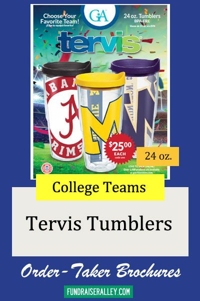 24oz Tervis Sports Tumblers Order-Taker Fundraiser Great school