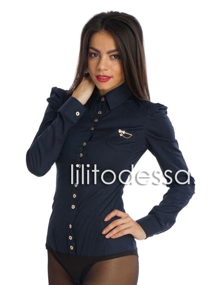 Рубашка-боди с острыми плечиками темно-синее 44, Тёмно-синий - LILITоdessa — интернет магазин одежды оптом и в розницу в Одессе