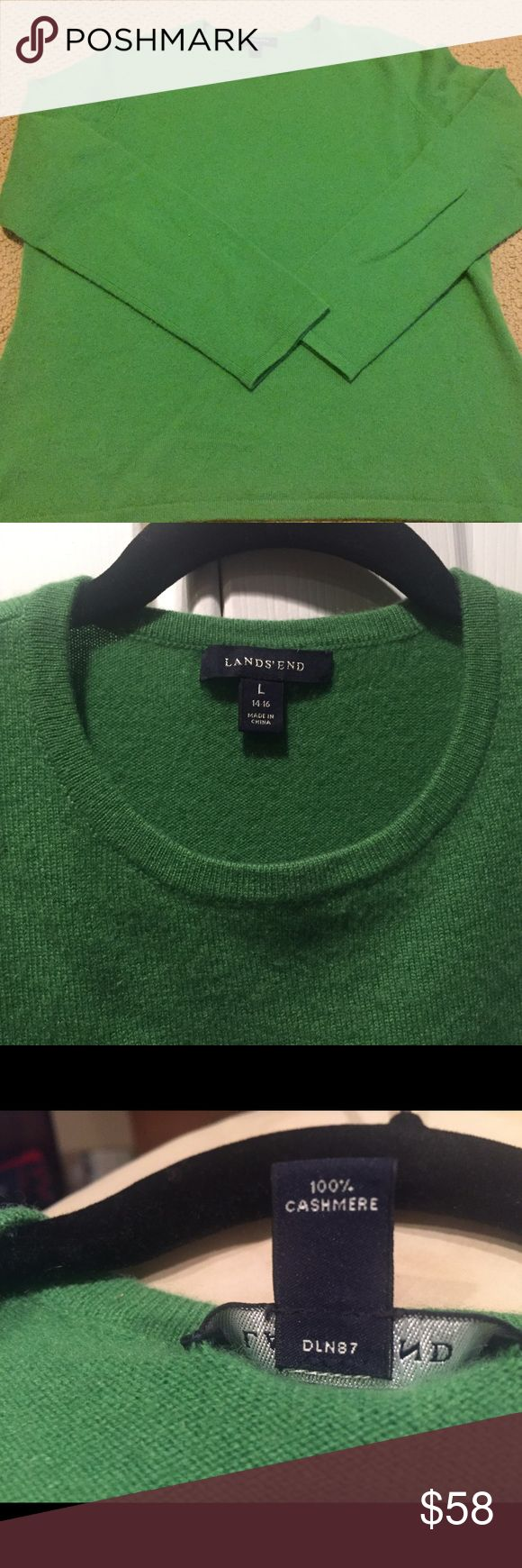 100% Cashmere Lands End Sweater, Green Large 14-16 From Lands End, soft warm & comfy 100% pure quality Cashmere Sweater. Beautiful pine 🌲 green color. Size Large (14-16), but fits more like a 12-14 IMO.  Very good pre-owned condition. I would say 8/10.  No rips, tears, or visible stains. Worn a handful of times, drycleaned & stored in a clean, smoke-free home. Lands' End Sweaters Crew & Scoop Necks