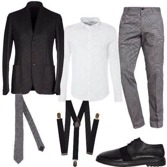 Un uomo d'affari, pronto ad un'intensa giornata lavorativa e eventualmente, a cene improvvisate dopo lavoro. Indossa una classica camicia bianca, una giacca color antracite, in lana, un paio di bretelle, una cravatta in pied de poule, pantaloni dal taglio classico e un paio di stringate nere.