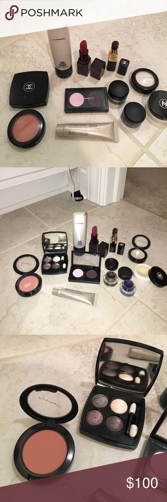 MAKEUP BUNDLE!!!!! Including MAC, CHANEL.. MAKEUP BUNDLE!!!!! Including MAC, CHANEL, Laura Mercier. Chanel les 4 ombres 208 tisse Gabrielle, Mac blush in melba, Laura Mercier foundation primer radiance, Mac eyeshadow duo, Mac strobe cream, Chanel lipstick in aura 96, Laura Mercier lipstick in Audrey. BLACK and BLUE Mac eye liner. And a Chanel hydra beauty lip care CHANEL Makeup