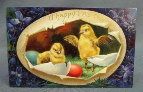 Antique Easter Postcard A Happy Purple Violets Egg Inset 2 Chicks Hatching