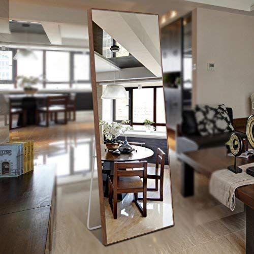Amazon Com Crossrobbin Thin Frame Floor Mirror Brown 65 X22 Home Kitchen Floor Mirror Mirror Flooring