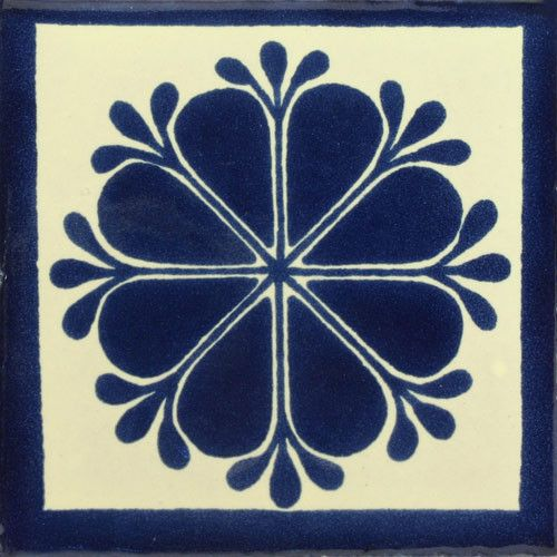 Traditional Mexican Tile - Amapola Azul Con Pistilos – Mexican Tile Designs