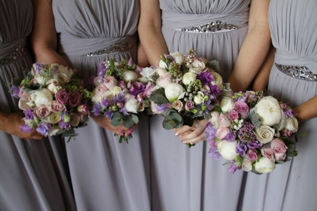 Flower Design Events: Lucy & Graeme's Lilac & Silver Grey Wedding Day at St Joseph's Mossley & The White Hart Inn Lydgate