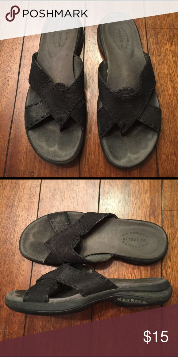 Merrill sandals Black very comfy sandals. Gently used but still lot of miles left! Merrell Shoes Sandals
