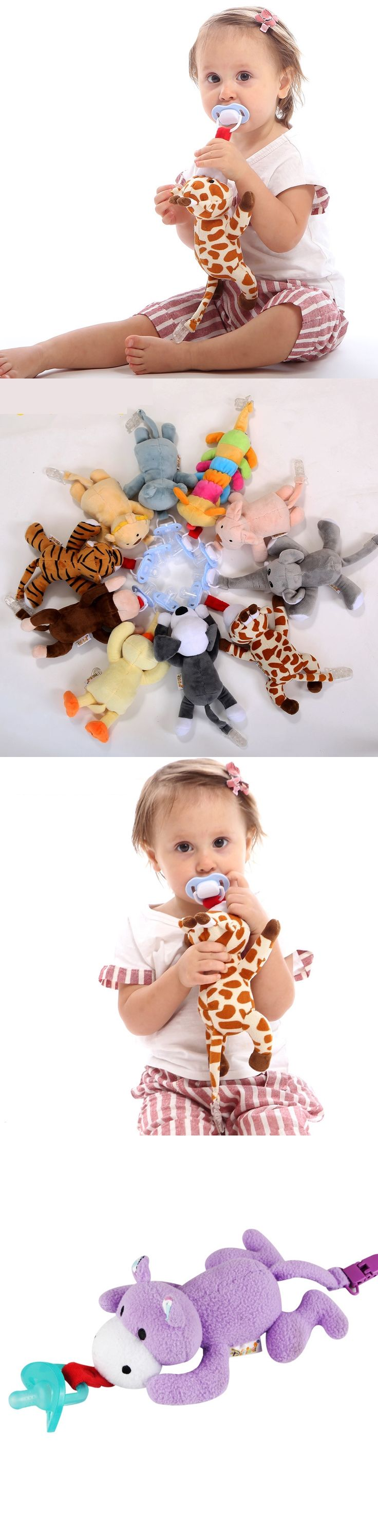 stuffed animal pacifier Baby pacifier plush toy Dog weasel giraffe tiger funny pacifier toy silicone animal teether silicone