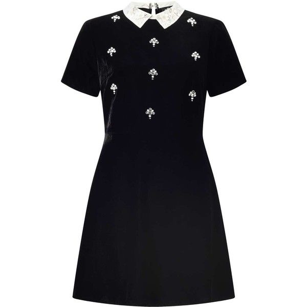 Miss Selfridge PETITE Velvet Skater Dress ($60) ❤ liked on Polyvore featuring dresses, black, petite, embellished dress, skater dress, miss selfridge, petite skater dress and petite dresses