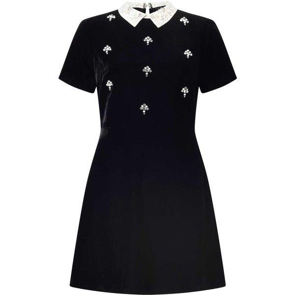 Miss Selfridge PETITE Velvet Skater Dress (86 CHF) ❤ liked on Polyvore featuring dresses, black, petite, miss selfridge, velvet dress, miss selfridge dress, embellished dress and petite dresses