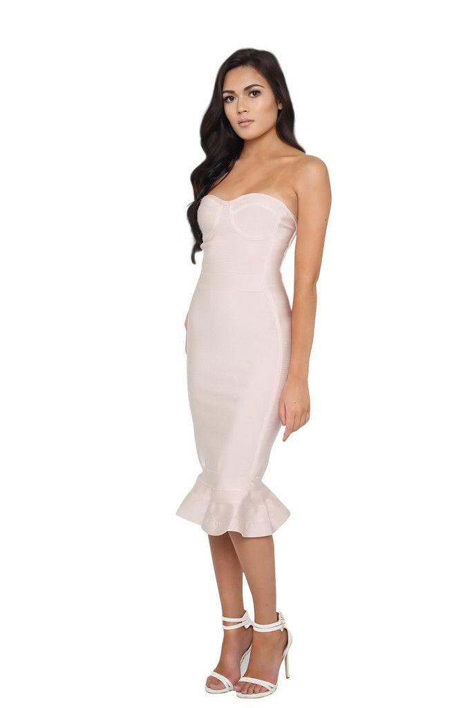 Isabelle Nude Midi Strapless Flute Bandage Dress