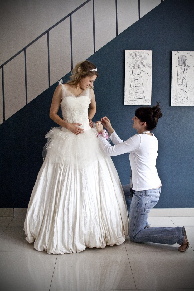 There's me doing some touch-ups on one of my gowns! - made with love by Aplomb Couture