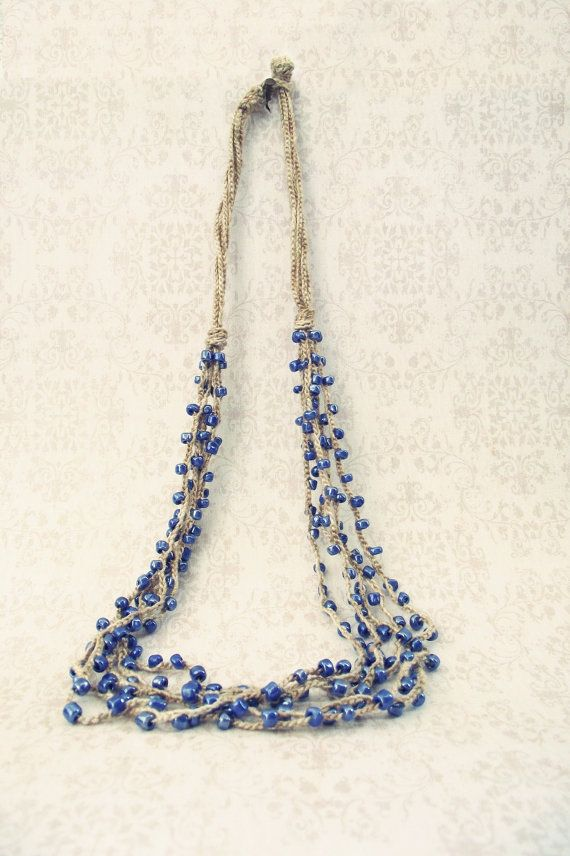 Blue Brown Bead Crochet Necklace