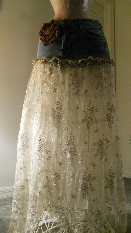 Use old jeans to make a maxi skirt