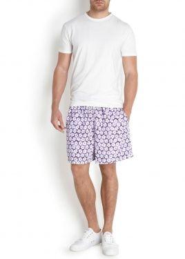 Purple floral print swim shorts