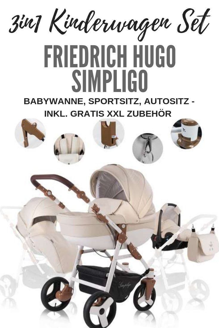 Friedrich Hugo Simpligo   3 in 1 combi stroller   Colour: ...- Friedrich Hugo Simpligo   3 in 1 Kombi Kinderwagen   Farbe: Sand (Kun, 599,90 €  Discover the Simpligo 3 in 1 stroller set – including XXL accessories such as diaper bag, rain cover, mosquito net & adapter – also available as a 2in1 and 4in1 set – with Simpligo Easy Click System & Simpligo Easy Button System for very easy handling – very agile thanks to swivel wheels & with comfortable cushioning stroller   Stroller set   Initial ba
