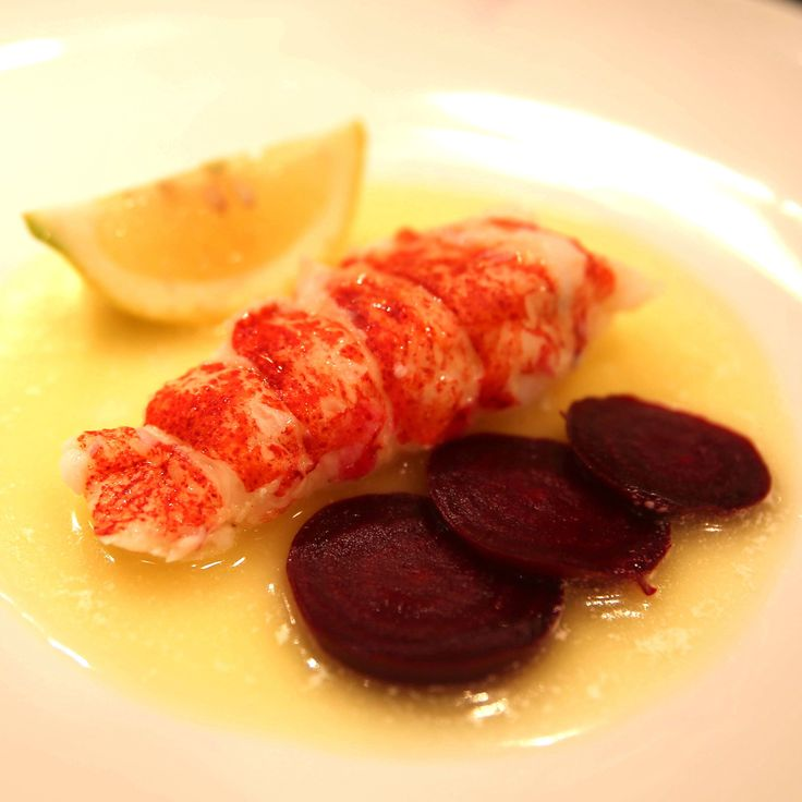 Lobster Tail with Lemon Beurre Monte and Beetroot