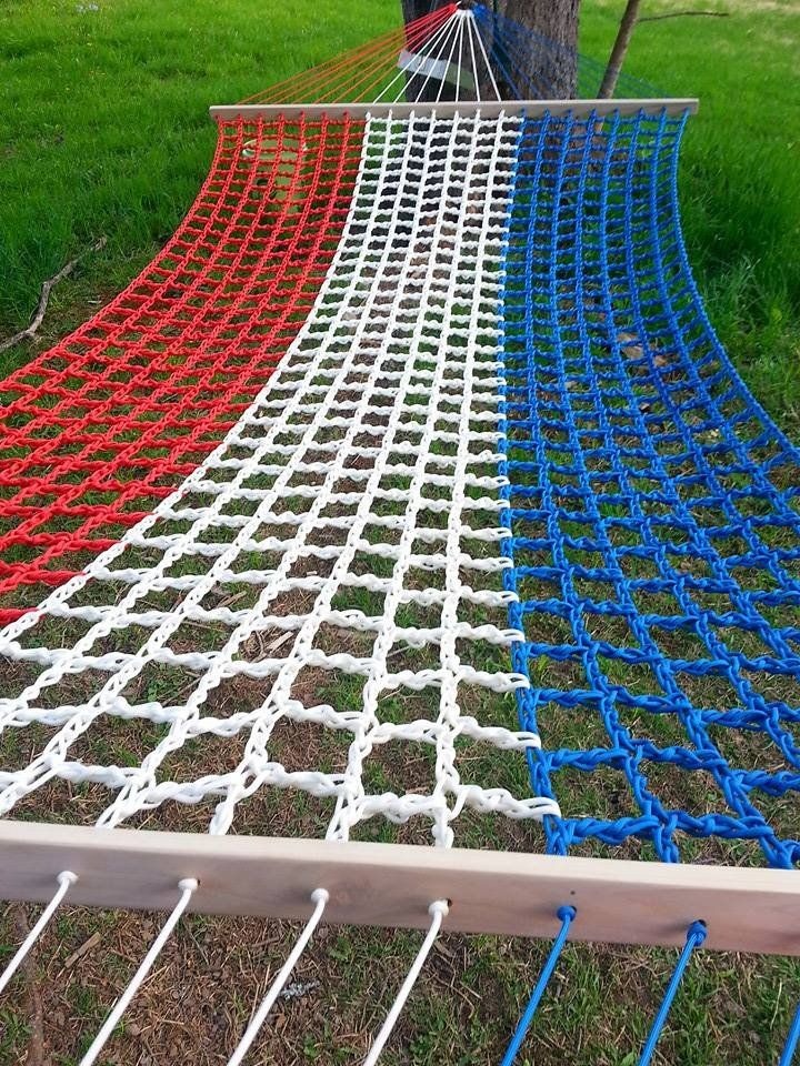American Flag Colored Paracord Hammock. Double Wide 13' L X 5' W. By Lackadaisy Hammocks. http://www.lackadaisyhammocks.com