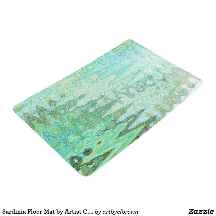 """Protect your floors in style! The Sardinia Floor Mat designed by Artist C.L. Brown features an abstract kinetic light painting edited for design in contemporary shades of varied blues, verdant greens, and Etruscan yellows that you'll love. Designed with comfort in mind, these floor mats help take the pressure off your feet. Ideal for kitchens, laundry rooms, workshops and more. The mats are made of polyurethane foam with a non-slip underside that has dimensions of 19""""w x 30""""l x .025""""h. Floor…"""