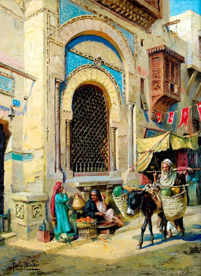The Orange Merchant In Cairo  By Tony Binder - Austrian, 1868-1944  Oil on canvas , 81 x 60 cm