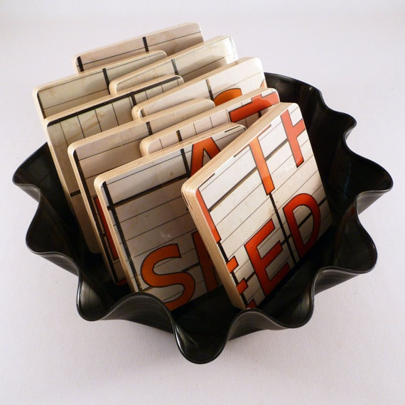 Recycled Album Cover Coasters & Warped Record Basket