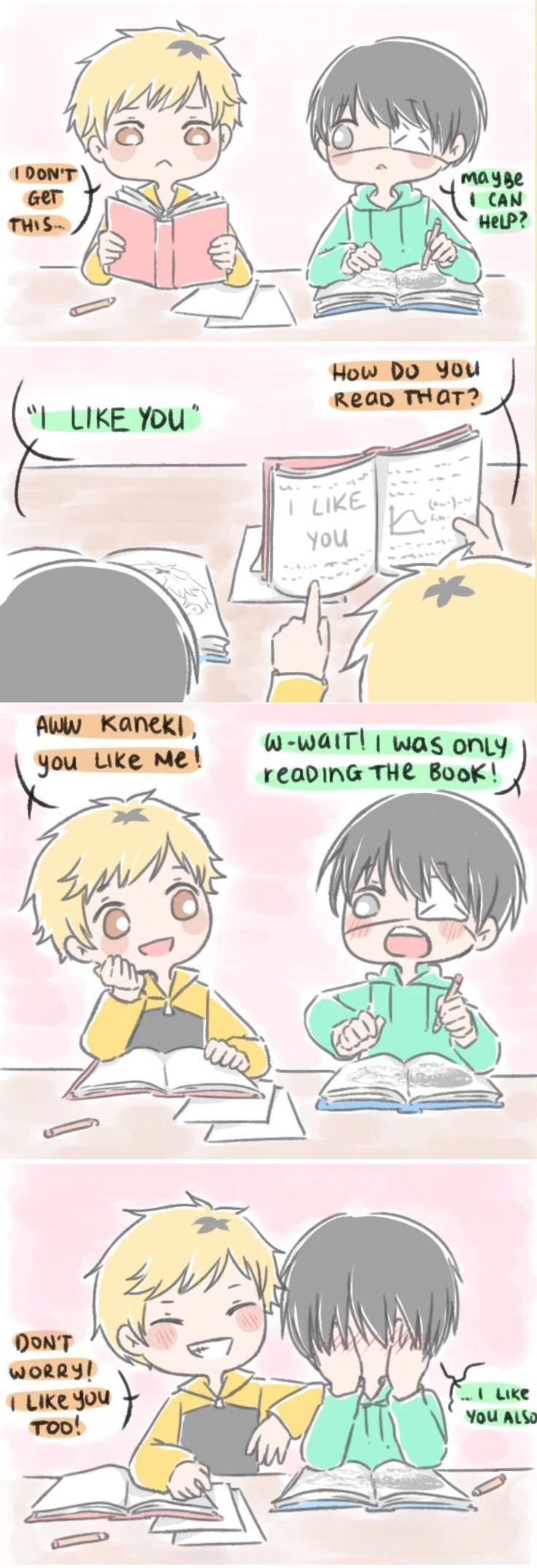 Tokyo Ghoul | Kaneki & Hide - I can totally imagine this is how Hide tricked Kaneki into being friends with him. :3