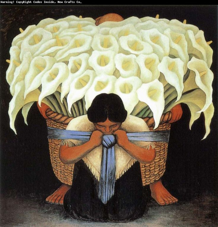 Diego Rivera  Series of Flower 1941  Oil Painting