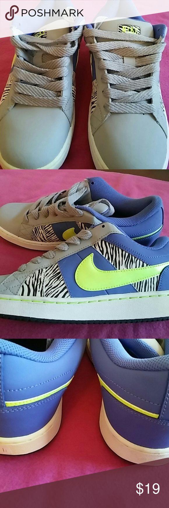 Ladies sneakers size 11 Nike sneakers purple lime green and zebra print. Worn once. Nike Shoes Sneakers