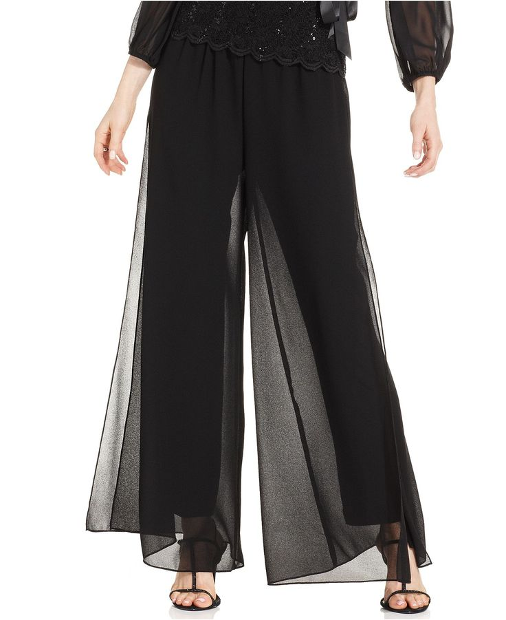 Alex Evenings Wide-Leg Chiffon Pants - Pants & Capris - Women - Macy's
