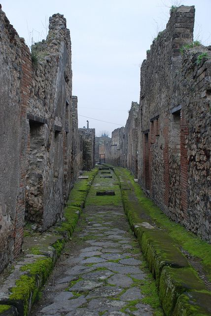 Street through the ruins of Pompeii, Italy
