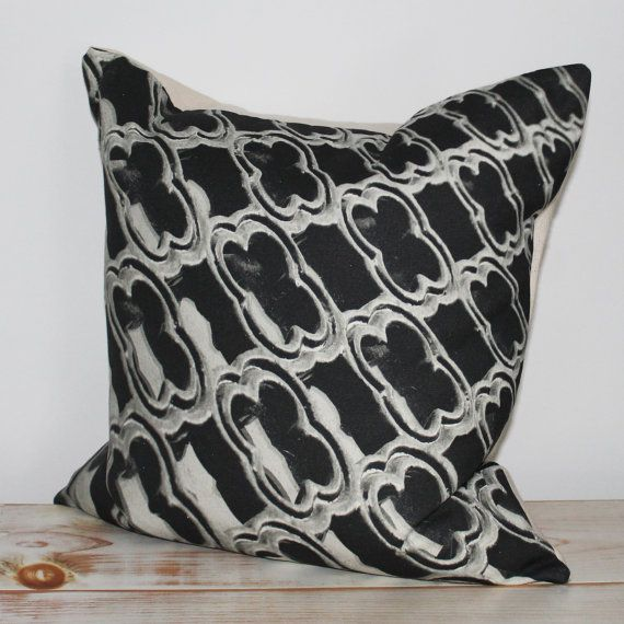 Decorative Pillow with black & white print inspired by window at La Cathedrale Notre-Dame de Paris.