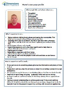 Support Worker Marie uses her one-page profile with colleagues, people she supports and their families. Read it in full here: http://onepageprofiles.files.wordpress.com/2013/11/52-maries-one-page-profile-from-paul-pargeter.pdf