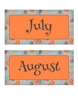 Free Vintage Orange, Blue, and Pink Sunburst Calendar Month Labels