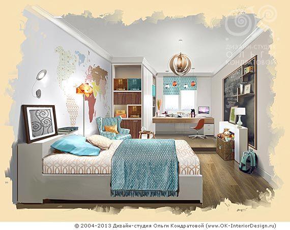 Рисунок детской комнаты для школьника  http://www.ok-interiordesign.ru/ph_dizain-detskoy-komnaty.php