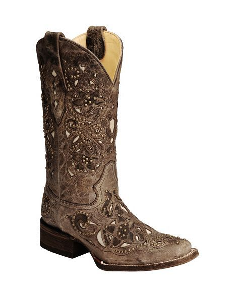Corral square toe studded vintage boots brown.... Love these boots....now summer needs to come so I can wear them