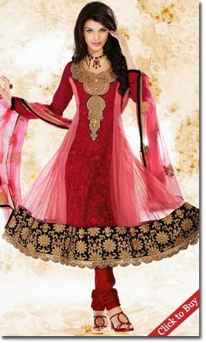 Diwali Shopping Collection Red-And-Pink-Poly-Georgette-Anarkali-With-Embroidery