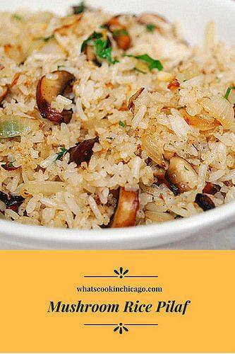 Mushroom Rice Pilaf is a great way to liven up plain rice. The addition of bay leaf and rosemary lent some nice aromatics and flavor... #rice #mushrooms