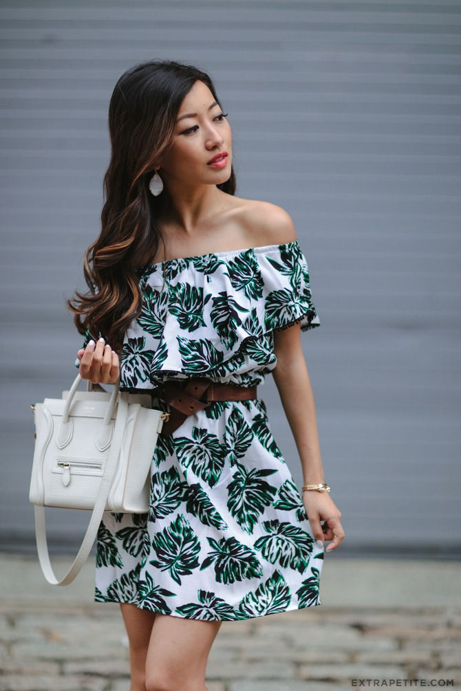 summer style // palm print off shoulder dress, leather belt, celine luggage nano bag. sultry / sexy but not too revealing