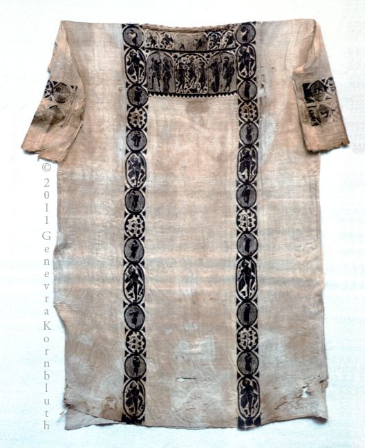 Artemis, Apollo, hero, satyrs, and Maenads on a woman's tunic, linen and wool, 4th-5th c. Akhmim, Pushkin