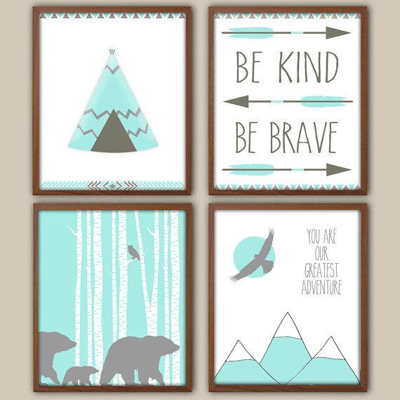 Boys Nursery Art  Nursery Decor  Be Kind Be Brave by iNKYSQUIDKIDS