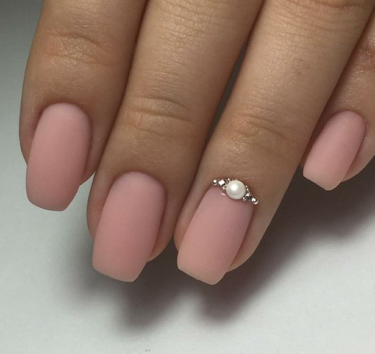 Simple elegant matte nails with jewels
